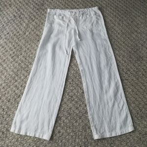 Vince White Linen Patch Pocket Drawstring Pants Sm